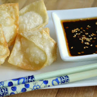 Crispy Goat Cheese Wontons with Chili Dipping Sauce.