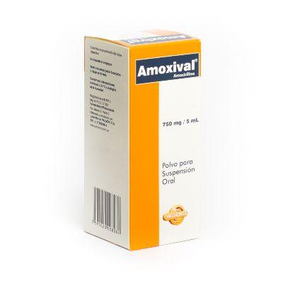 Amoxicilina Amoxival 750 mg/5 mL Suspensión x 70 mL