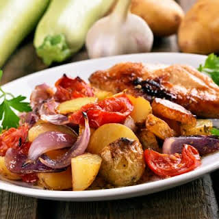 Marinated Chicken And Vegetable Bake.