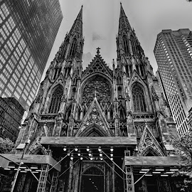 St Patricks Cathedral by Pravine Chester - Black & White Buildings & Architecture ( building, church, black and white, historic building, new york city, architecture, usa, photography, places of worship )