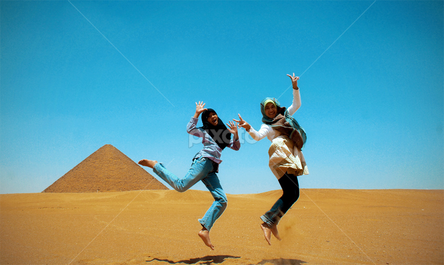 Let's Jump...!! by Ellys Utami - People Family ( pyramid, travel, egypt )
