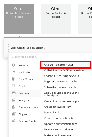 Selecting a no-code event to charge a user