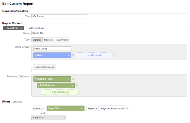 404 custom report in Google Analytics