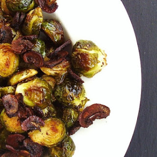 """Roasted Brussels Sprouts with """"Baby Bella"""" Bacon Bits."""