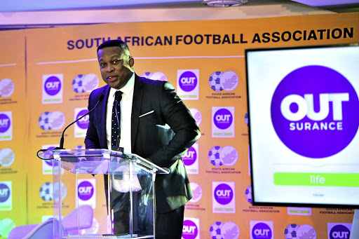 Robert Marawa at an event where Safa unveiled OutSurance as their sponsor.