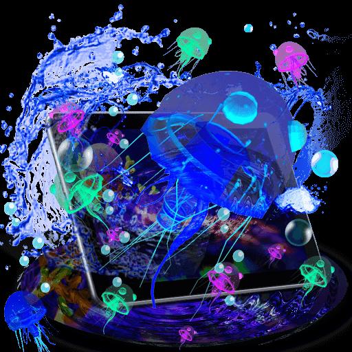 3D Cute Neon Jellyfish Theme