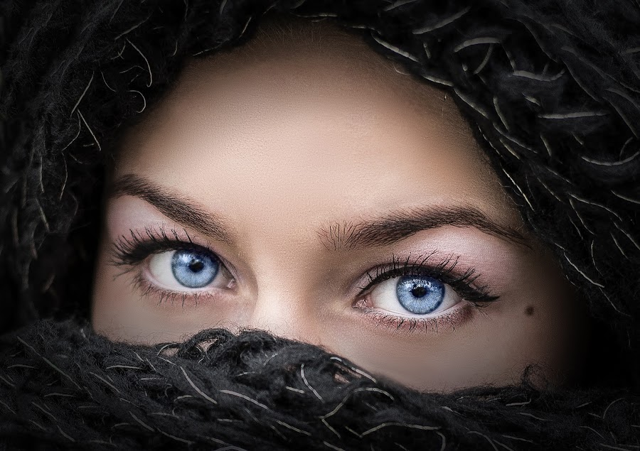 Blue by Cosmin Lita - People Body Parts ( girl, beautiful, mysterious, blue eyes, portrait,  )