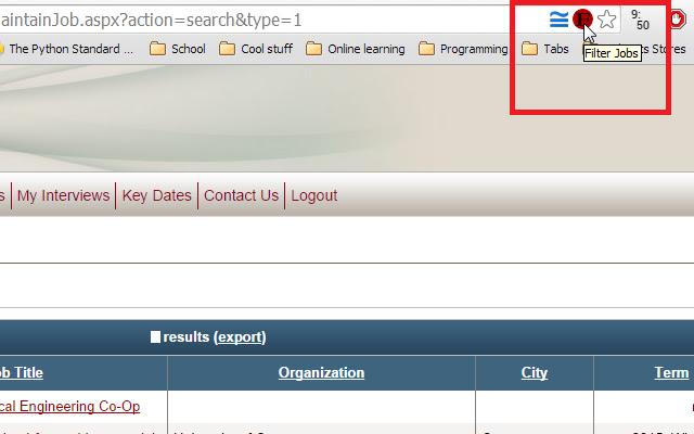 uOttawa Co-op Search Filter