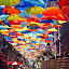 ...the rain is gone by Malinov Photography - City,  Street & Park  Street Scenes ( umbrellas, color, street, umbrella, summer, agueda, fun, portugal, , colorful, mood factory, vibrant, happiness, January, moods, emotions, inspiration )