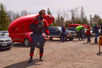 Photo: Kayakers loaded up their boats and headed up to the top of the Lester River for the start of the race.