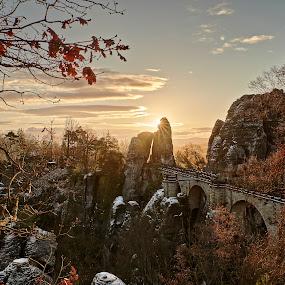 Golden moments at Die Bastei by Torsten Funke - Landscapes Sunsets & Sunrises ( deutschland, travel, landscape, photo, sun, saxony, picture, winter, travelling, photoofthedas, sachsen, germany, sunrise, landscapes, bastei, travel photography )