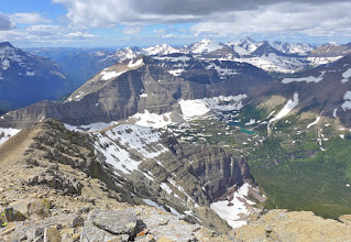 Photo: Triple Divide Peak near left edge of photo, left of center - Hudson Bay drainage on right.
