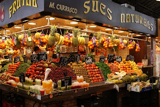 Photo: One of many stands at the Mercat de la Boqueria, Barcelona