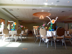 Photo: Long view of Under the Sea themed Grand Haven High School Prom 2011 at Trillium Banquet Hall, Spring Lake, Michigan (Awesome place!) swimming centerpieces! Each had sparkle ribbon lights.
