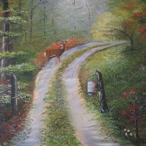 Deer Where are you by David Jarrard - Painting All Painting ( venison.wildlife, forest, deer )