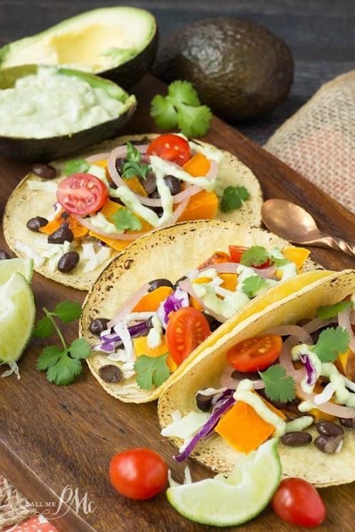 Black Bean Butternut Squash Tacos with Avocado Cream Sauce
