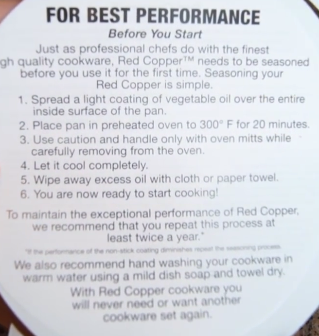 red copper pan  information