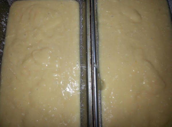 Pour half the mixture in one bread pan, and the other half in second...