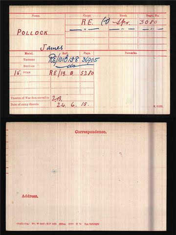 James Pollock's Medal Index Card