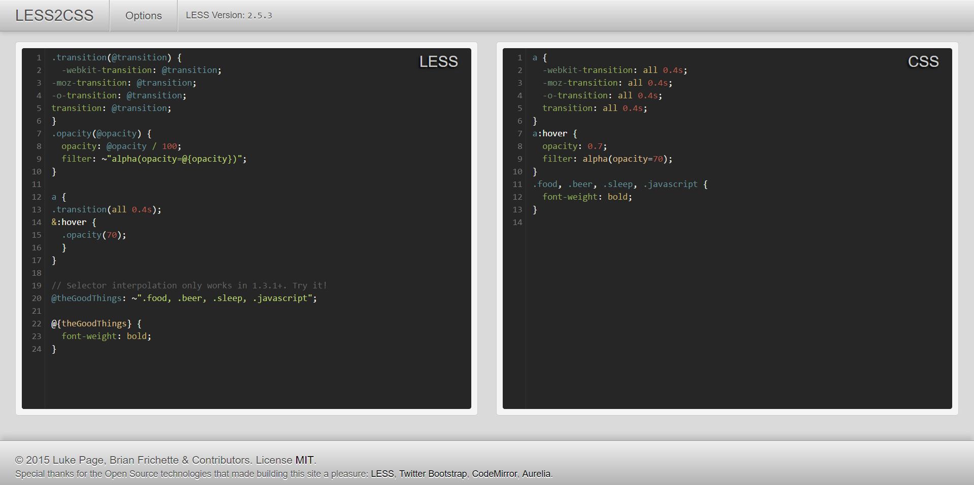 Esempio file Less