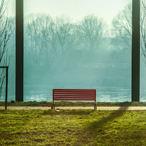bench by Riccardo Lazzari - City,  Street & Park  City Parks ( red, park, bench, po, river )