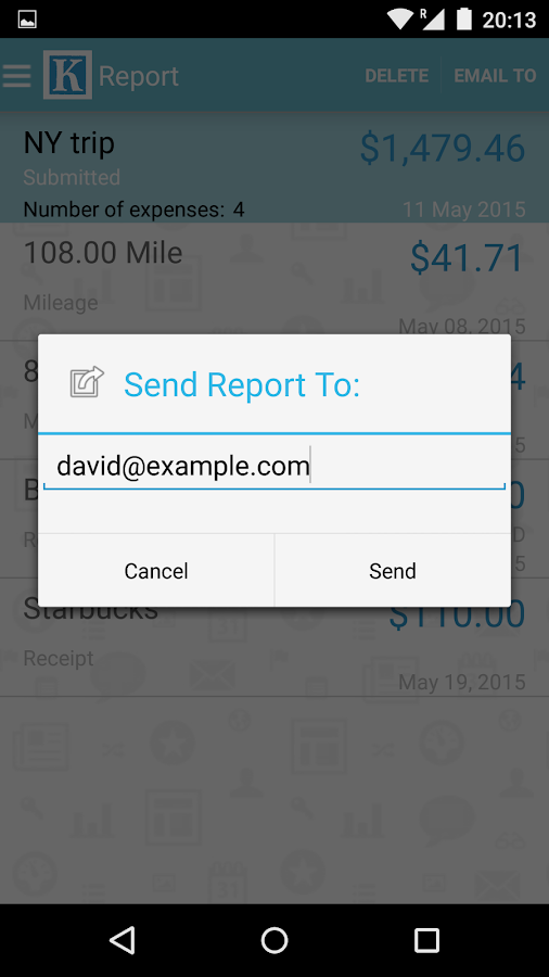 Expense Reports- screenshot