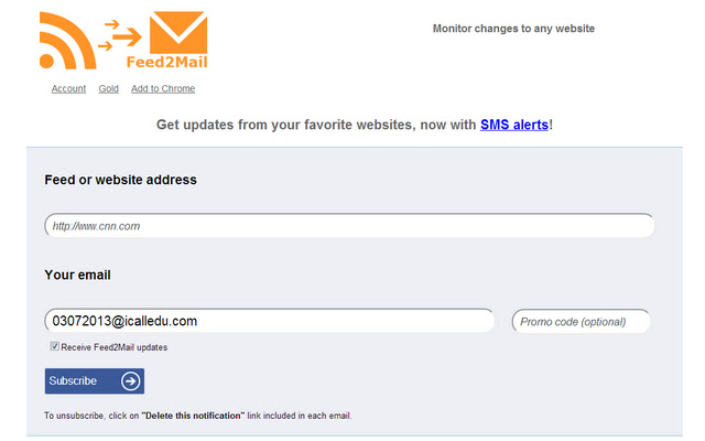 Feed2Mail notifications