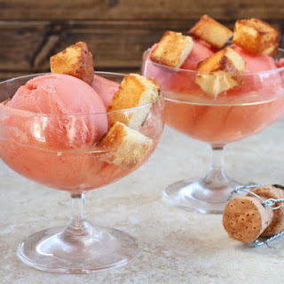 Champagne Sundaes (with toasted pound cake croutons).