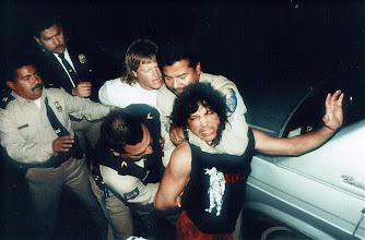 Photo: police in tijuana arrest a tourist. Tracey Eaton photo.