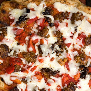 Roasted Pepper and Spicy Sausage Grilled Pizza