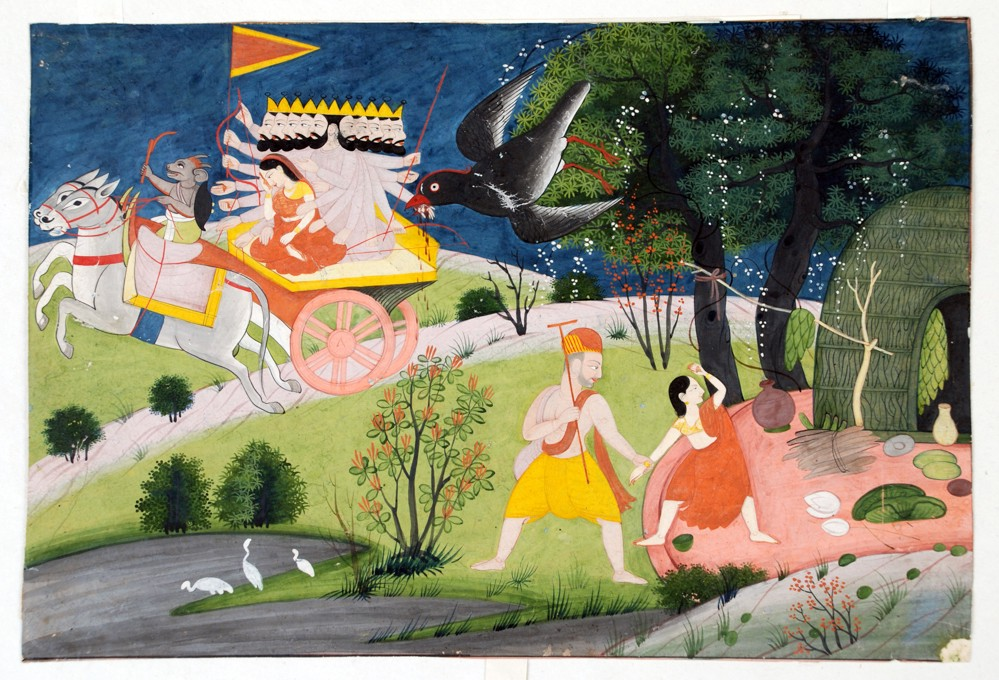 Sita is being kidnapped from the forest by Ravana. Mythical love stories: Artist unknown (Pahari style), The abduction of Sita by Ravana from Panchavati and the bird Jatayu who tries to save her, late 18th century, National Museum, New Delhi, India.