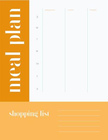 Meal Plan & Shopping List - Planner Template