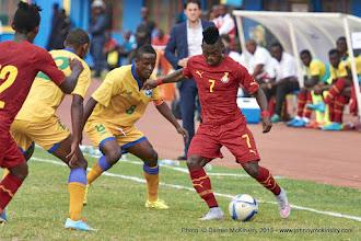Photo: Haruna NIYONZIMA (8, Capt) and Jean-Claude IRANZI (12) close in on Christian Atsu (7) [Rwanda Vs Ghana AFCON2017 Qualifier, 5 Sep 2015 in Kigali, Rwanda.  Photo © Darren McKinstry 2015