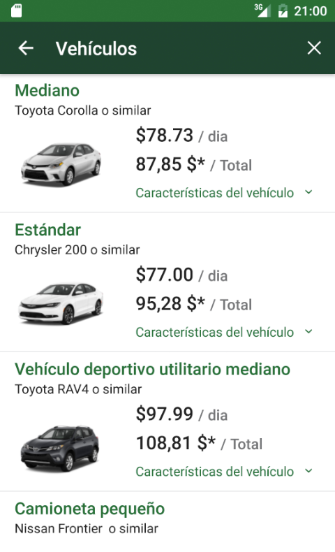 National Car Rental: captura de pantalla