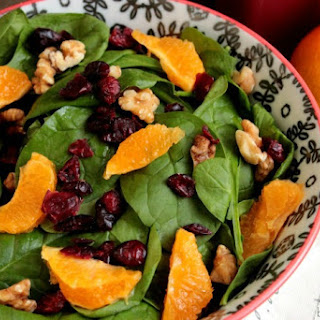 Homemade Pomegranate Vinaigrette with a Walnut, Orange and Cranberry Salad