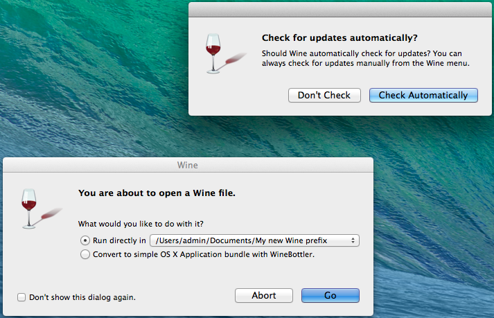 Setting security and update settings for Wine