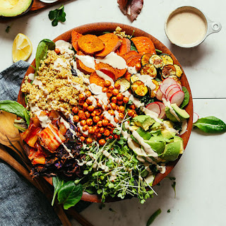Abundance Kale Salad with Savory Tahini Dressing Recipe