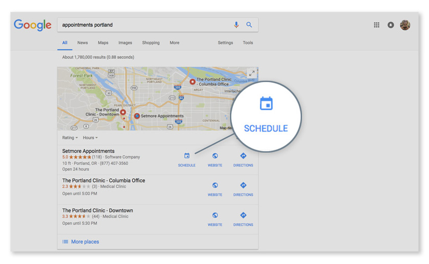 When customers search for your business or your services in Google, they'll see a button to book an appointment or see your availability next to your business name in the search results.