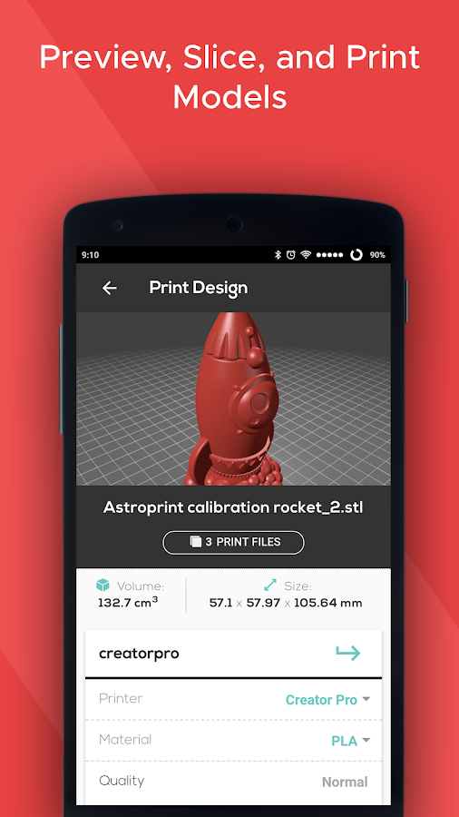 AstroPrint (for 3D Printing)- screenshot