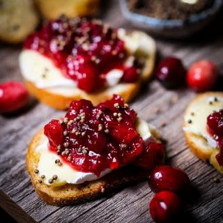 Cranberry Chutney and Brie Crostini.