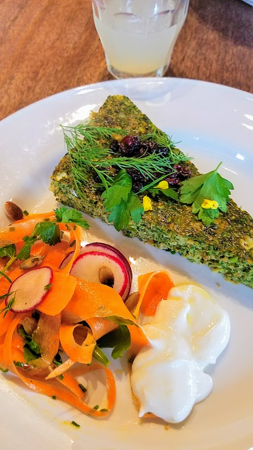 Breaking Bread luncheon with Meadowlark PDX and Nostrana to benefit the Cascade AIDs Project (CAP) with a luncheon featuring Iranian cuisine: kuku sabzi. spring herb and nettle frittata, served with a shaved carrot and radish salad and a little yogurt