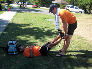 Photo: Post IM Muskoka 70.3 - Ramon getting some stretching in with Coach