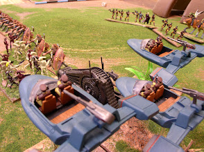 Photo: Scenario 1: Assault on Naboo -Naboo Security Flyers turn the flank of a Banking Clan Tank Droid Behemoth. Gungan Warriors are also engaging the Battle Droids. Gungan Warriors on Ducks can be seen in the background.