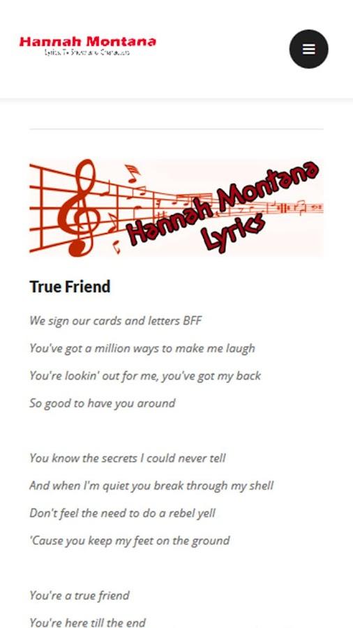 Hannah Montana Lyrics Android Apps on Google Play