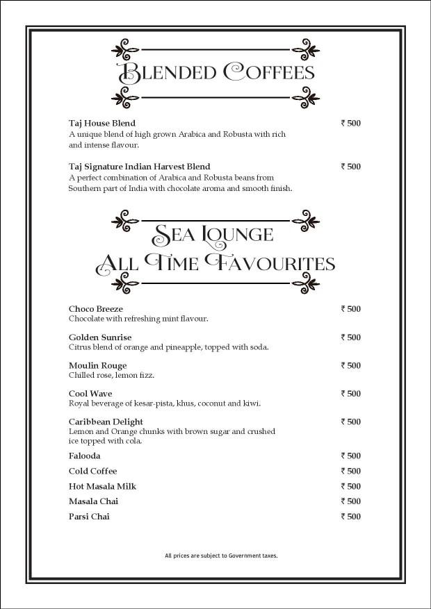 Sea Lounge - The Taj Mahal Palace menu 6