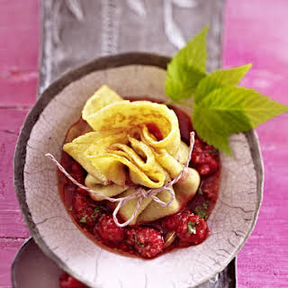 Soy Crepe Purses with Raspberry and Ginger Compote.