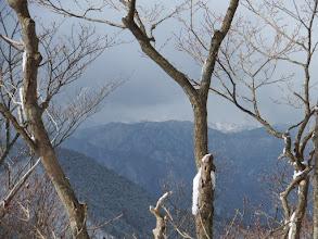 後方に奥美濃の山