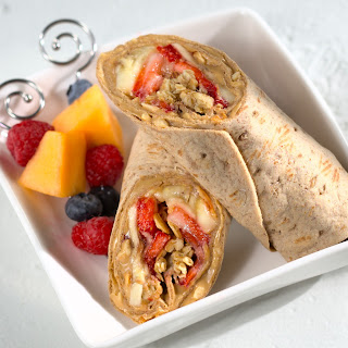 Peanut Butter and Jelly with Strawberries, Banana and Granola Flatbread Wrap (aka B&J with SB&G)