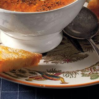 Golden Gazpacho with Minted Cream