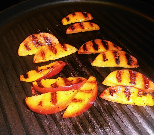 Grill peach slices in a large heated grill pan for 2-3 mintes on each...